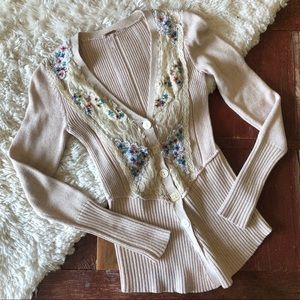 Free People | Beaded Sequin & Lace Ribbed Cardigan
